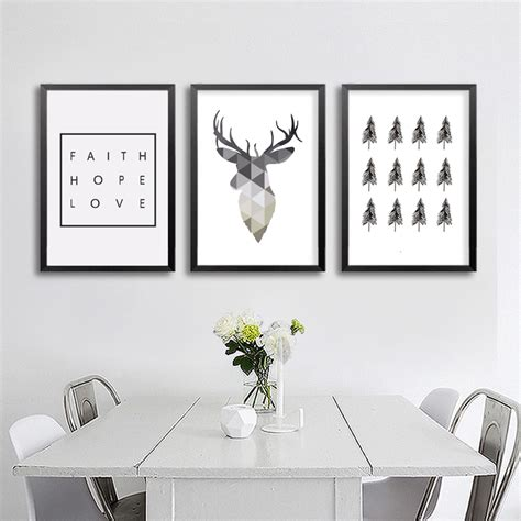 aliexpress buy nordic antler wall aliexpress buy geometric deer faith quote canvas