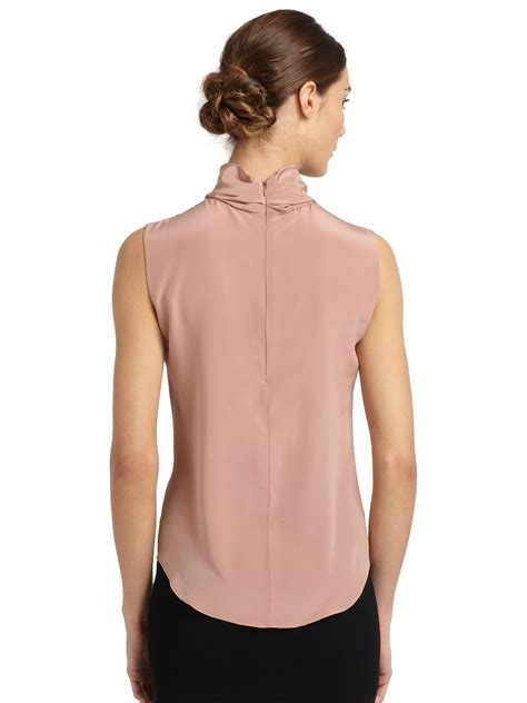 Rosette Blouse lyst moschino rosette sleeveless silk blouse in pink