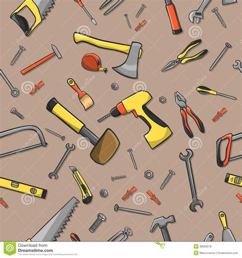 background pattern tool carpenter tools seamless pattern stock vector image