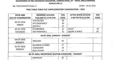 supplementary 2 puc result 2015 revised time table for 2 puc supplementary july