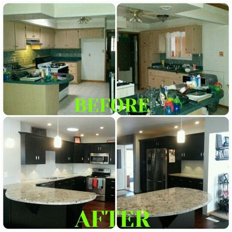 kitchen reno espresso kitchen cabinets hardwood floors alaskan white granite curved