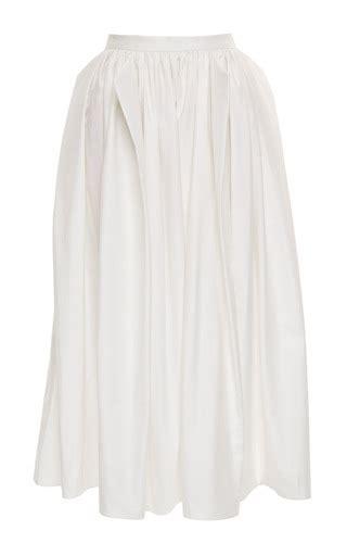 White Origami Skirt - satin poplin origami shirred skirt in white by tibi moda