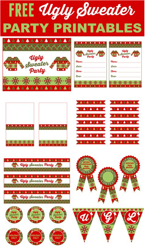 free printable christmas party decorations free ugly sweater party printables catch my party