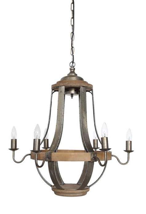 Wood And Metal Chandelier Wood Metal Chandelier W 6 Lights Zassy S Treasures Design