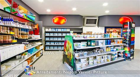 scaffali per negozi arredamenti per negozi pitture vernici colorifici effe
