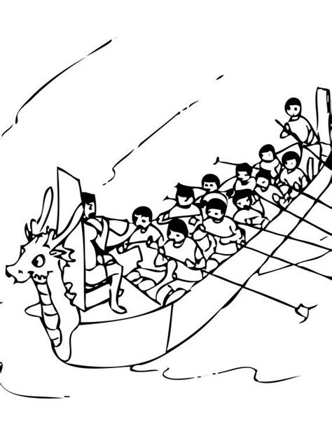 dragon boat clipart black and white chinese dragon boat festival coloring pages family