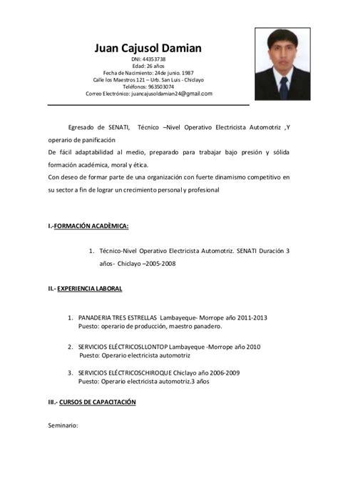 Modelo Curriculum Tecnico Electricista curriculum cajusol