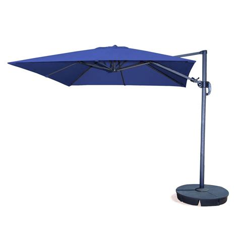 Hampton Bay 11 ft. LED Offset Patio Umbrella in Sunbrella