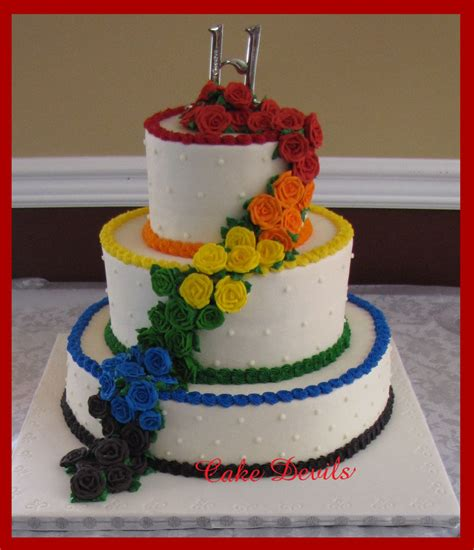 cake decorations rainbow roses edible handmade