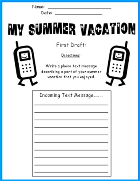 Cell Phone Templates Write A Text Message About Your Summer Vacation Text Message Template For Students