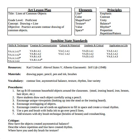 visual arts lesson plan template sle lesson plan 7 documents in pdf