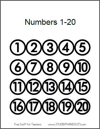 printable numbers 1 20 8 best images of number sheets 1 to 20 printable free