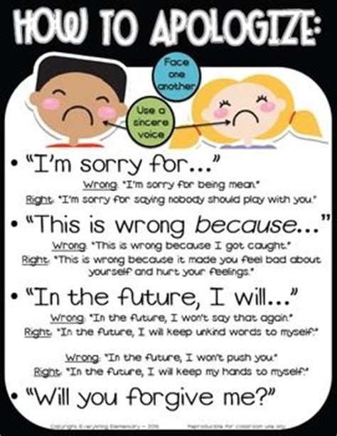 Apology Letter To Husband For Lying How To Apologize And Say Sorry Poster Responsive Classroom Character Education Character