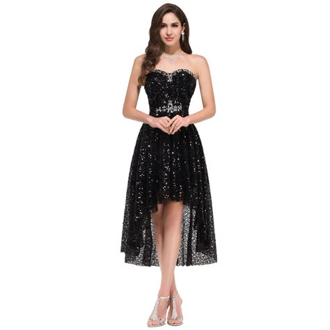 2016 long short prom dresses cocktail dresses prom black sequins sexy women short front long back prom dress