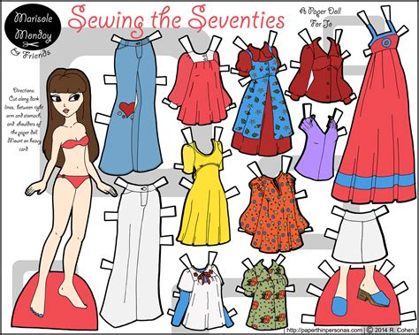 Friends Paper Dolls - a color paper doll with a 1970s wardrobe from vintage