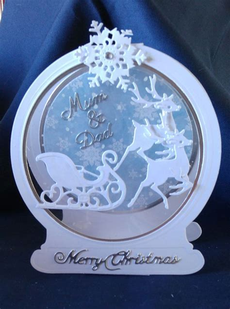 8 Snow Globes I by Tattered Lace Snowglobe And Reindeer And Sleigh Card