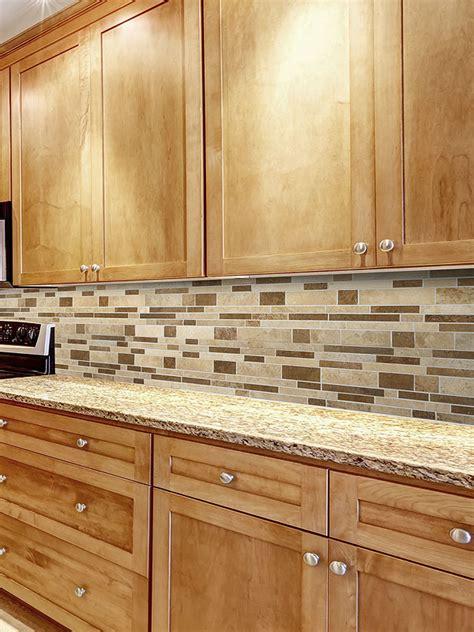travertine subway mix backsplash tile  kitchen bacskplash area