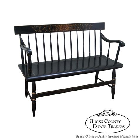 windsor style bench 9369 hitchcock black painted stenciled windsor style