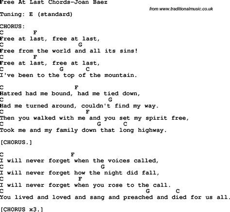 At Last protest song free at last chords joan baez lyrics and chords quot
