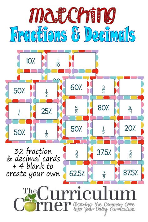 printable decimal number cards decimals fractions matching cards the curriculum