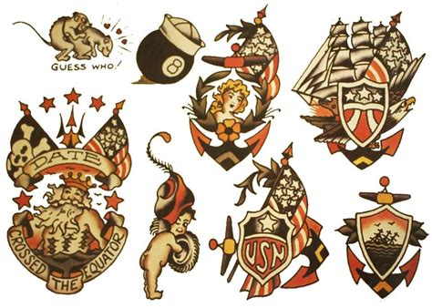 sailor jerry anchor tattoo designs us navy flash sheet 2 printed t shirts from 9 35us plus