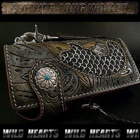 leather biker wallet pattern ロングウォレット 鯉 蓮柄 カービング 革財布 バイカーズウォレット カービングウォレットcustom hand
