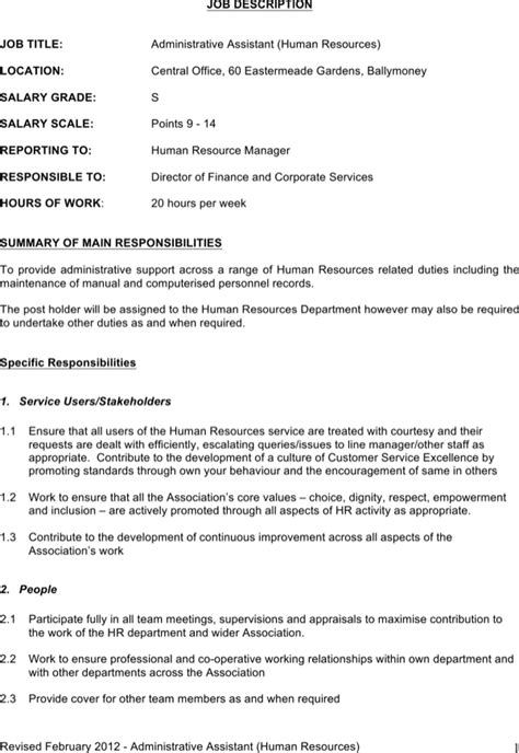 Download Administrative Assistant Job Description Template Word For Free Page 4 Formtemplate One Page Description Template