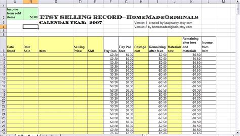 Etsy Spreadsheet by Home Made Originals Etsy Selling Spreadsheet