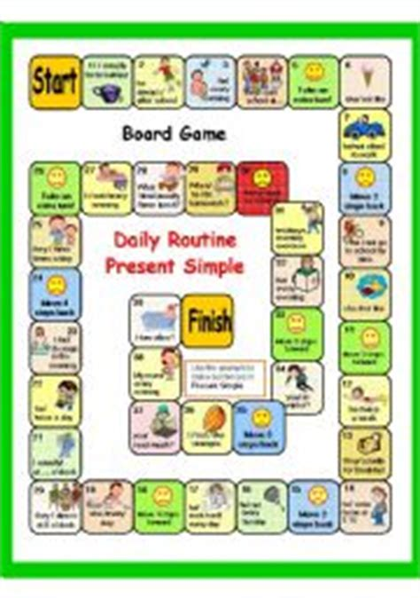 printable board game present simple english worksheets present simple daily routine part 4