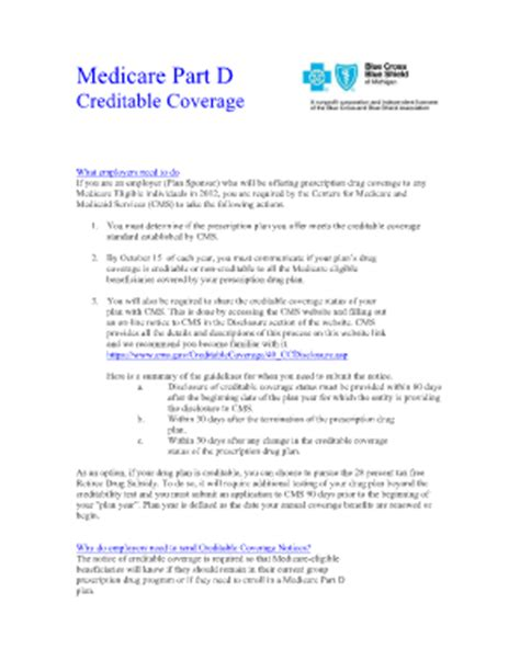 Certificate Of Coverage Letter Part D Creditable Coverage Fillable Notice Fill Printable Fillable Blank Pdffiller