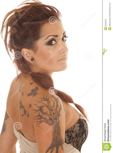 tattoo back side woman woman tattoos dress profile back side stock photos image