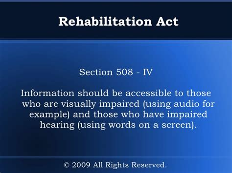 rehabilitation act section 508 guide to disability rights laws