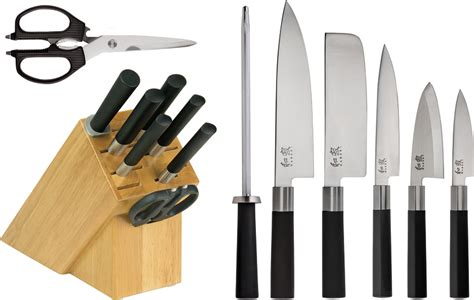kershaw kitchen knives set kswsb0800 kershaw wasabi 8 piece kitchen knife set