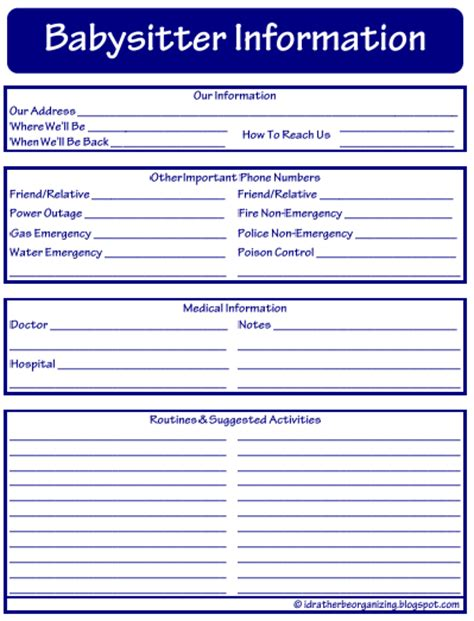 nanny information sheet template babysitting checklist template newhairstylesformen2014