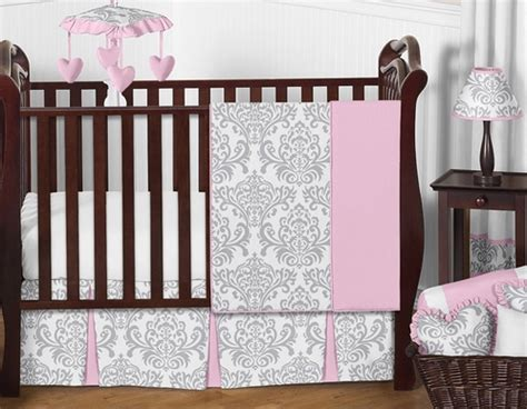 Sweet Jojo Elizabeth Crib Bedding by Pink Gray And White Elizabeth Baby Bedding 11pc Crib