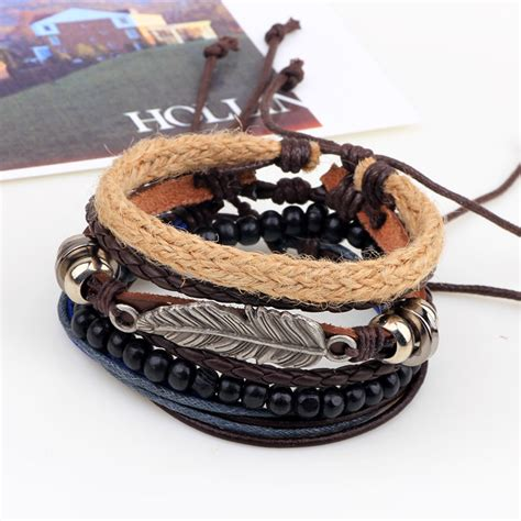 Woven Leather Bangle by 4 Types Wood Woven Leather Bracelet Leaf Pendant