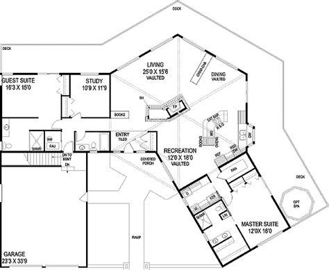 hexagon house floor plans hexagonal with grand deck 77247ld architectural