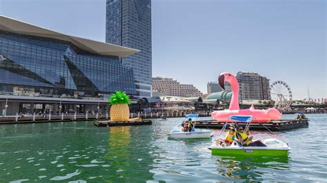 cockle bay wharf pedal boats sydney concrete playground - Paddle Boats Darling Harbour