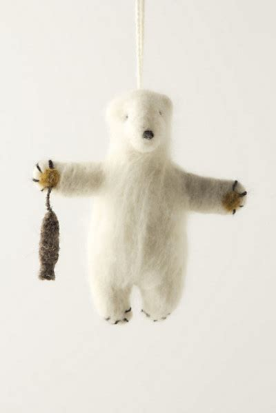 felted polar bear ornament contemporary christmas