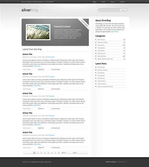css templates for blogger css template silver blog on behance