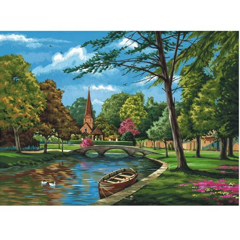 church by the river painting by numbers royal langnickel from craftyarts co uk uk