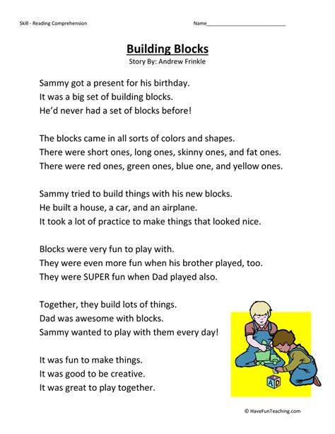 Reading Comprehension Worksheets 2nd Grade by Building Blocks Reading Comprehension Worksheet