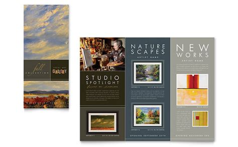 design art brochure art gallery artist tri fold brochure template design