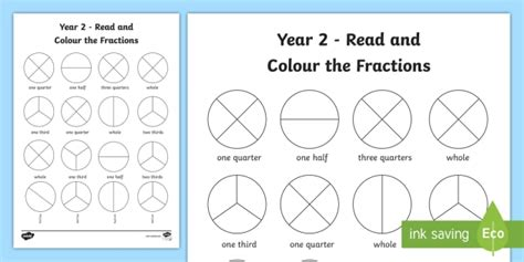 year 2 read and colour a fraction worksheet worksheet