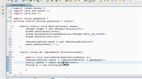 simple java swing program java swing gui tutorial create a password field password