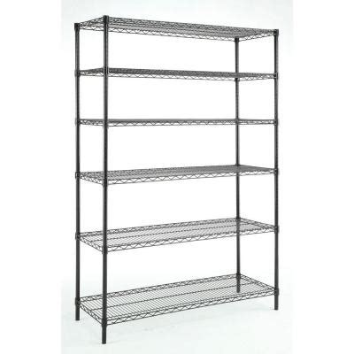hdx wire shelving hdx 6 tier 48 in x 18 in x 72 in wire shelving unit in black hd18481302bpsyow the home depot