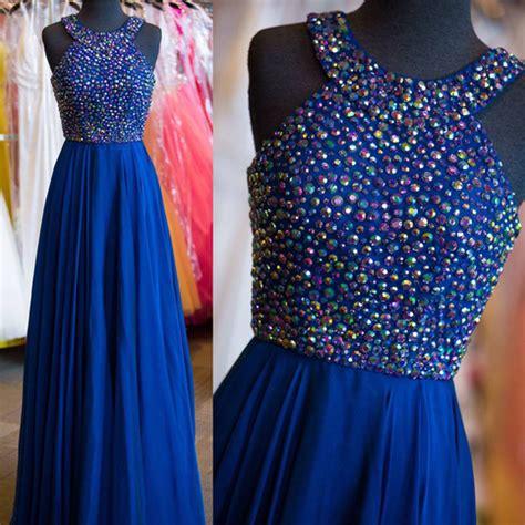 halter rhinestone beaded bodice prom dresses royal