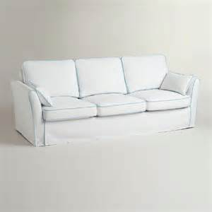 white and blue sofa white and blue luxe 3 seat sofa slipcover world market
