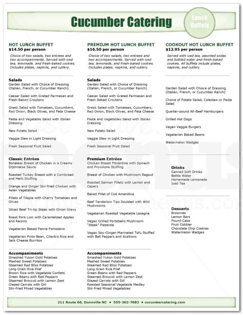 lunch buffet catering menu page 1