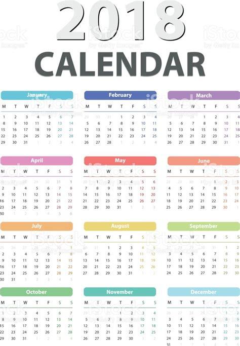 printable calendar 2018 europe 2018 のカレンダーの開始月曜日ベクター暦 2018 年 のイラスト素材 696190596 istock